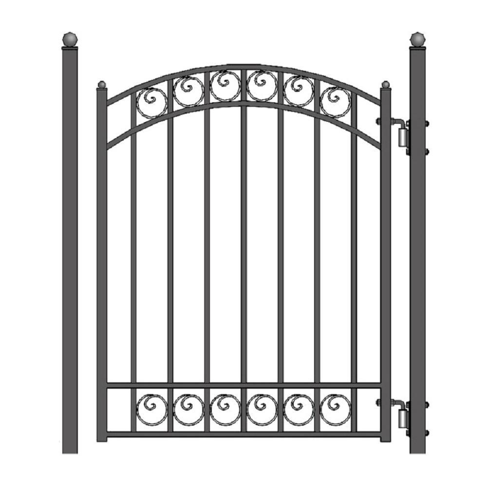 Dublin Style 4 ft. x 5 ft. Black Steel Pedestrian Fence Gate