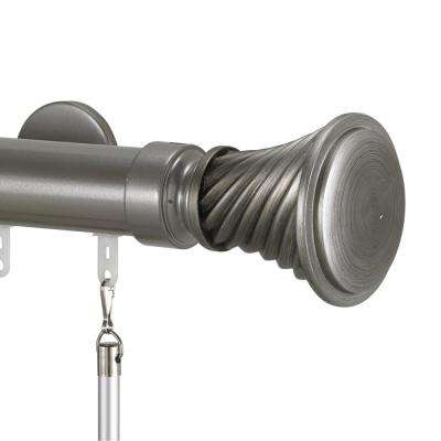 Tekno 40 132 in. Traverse Rod in Antique Silver with Elfin Finial