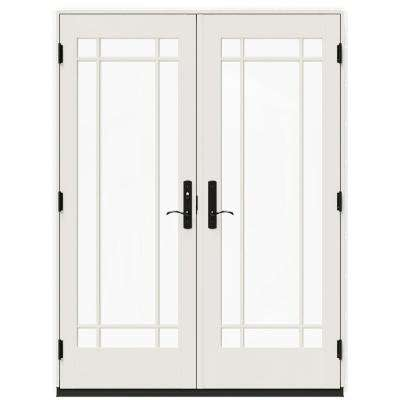 60 in. x 80 in. W-4500 Contemporary White Clad Wood Right-Hand 9 Lite French Patio Door w/White Paint Interior