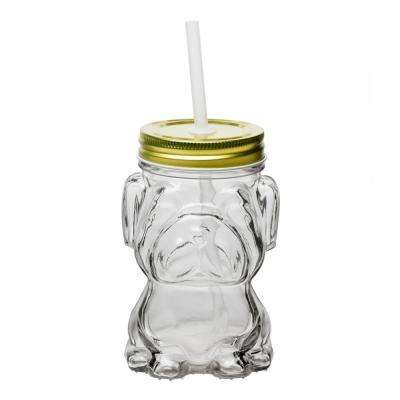 Mad Dog 4-Piece Clear Glass Mason Jar Drinkware Set with Gold Lid