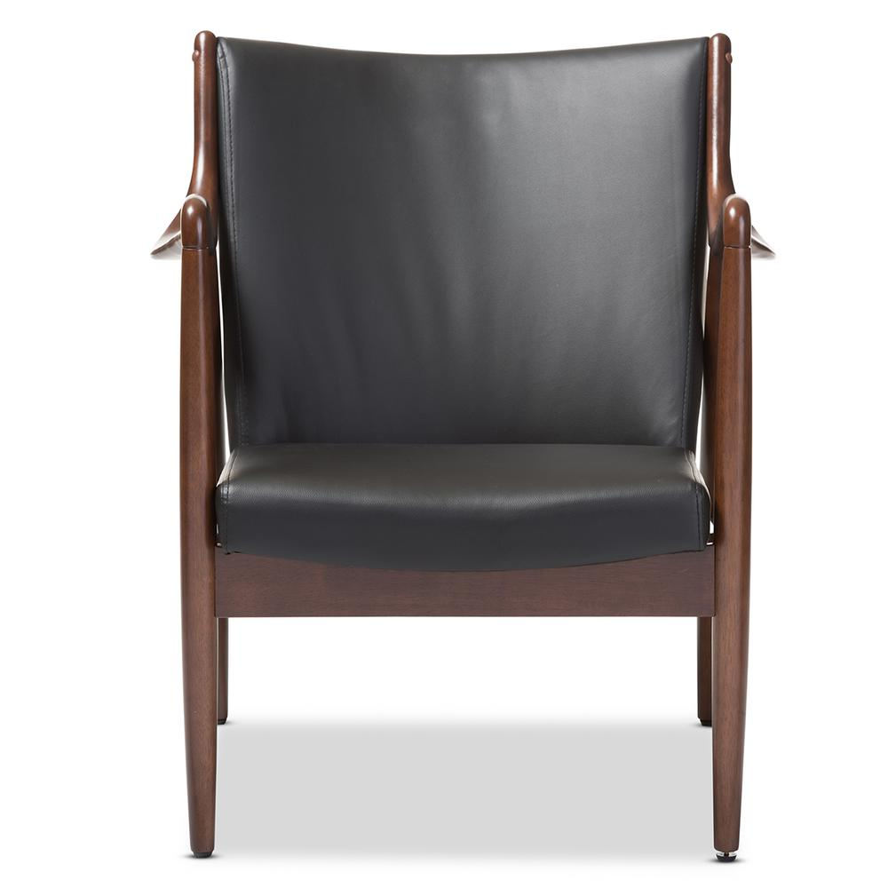 Shakespeare Mid-Century Black Faux Leather Upholstered Accent Chair