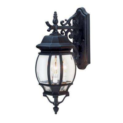 Filigree 3-Light Outdoor Black Coach Lantern with Clear Glass