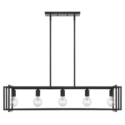 Tribeca 5-Light Black with Black Accents Linear Pendant