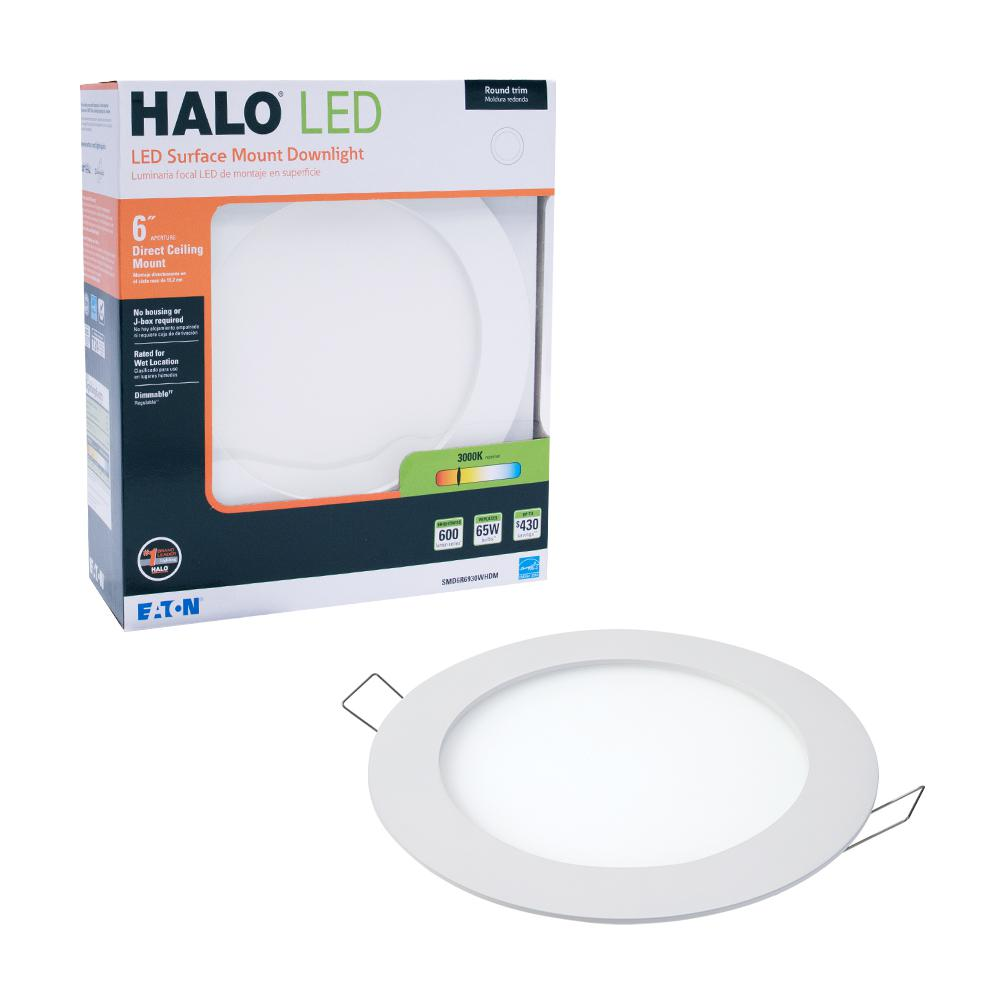 Halo smd dm 6 in 3000k lens white round integrated led surface mount recessed remodel trim kit