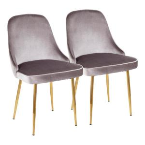 Gold and Silver Marcel Velvet Dining Chair (Set of 2)
