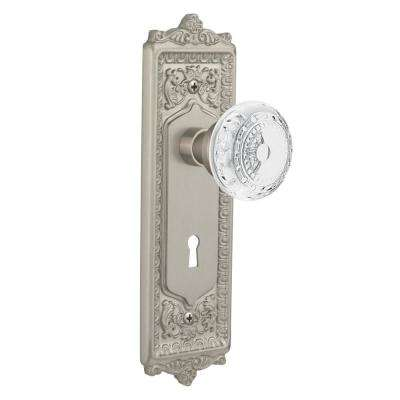 Egg and Dart Plate Interior Mortise Crystal Meadows Door Knob in Satin Nickel