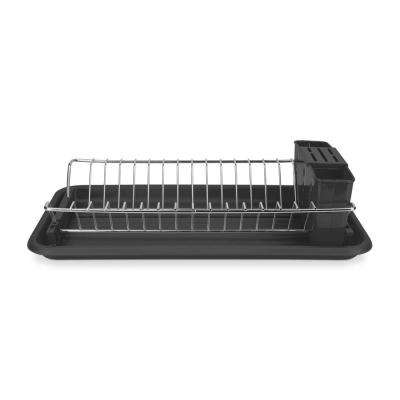 22 in. x 11 in. x 13.5 in. Compact Dish Drainer in Black
