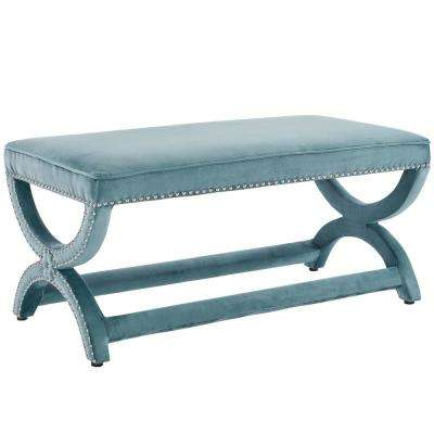 Expound Sea Blue Upholstered Nailhead Trim Velvet Bench
