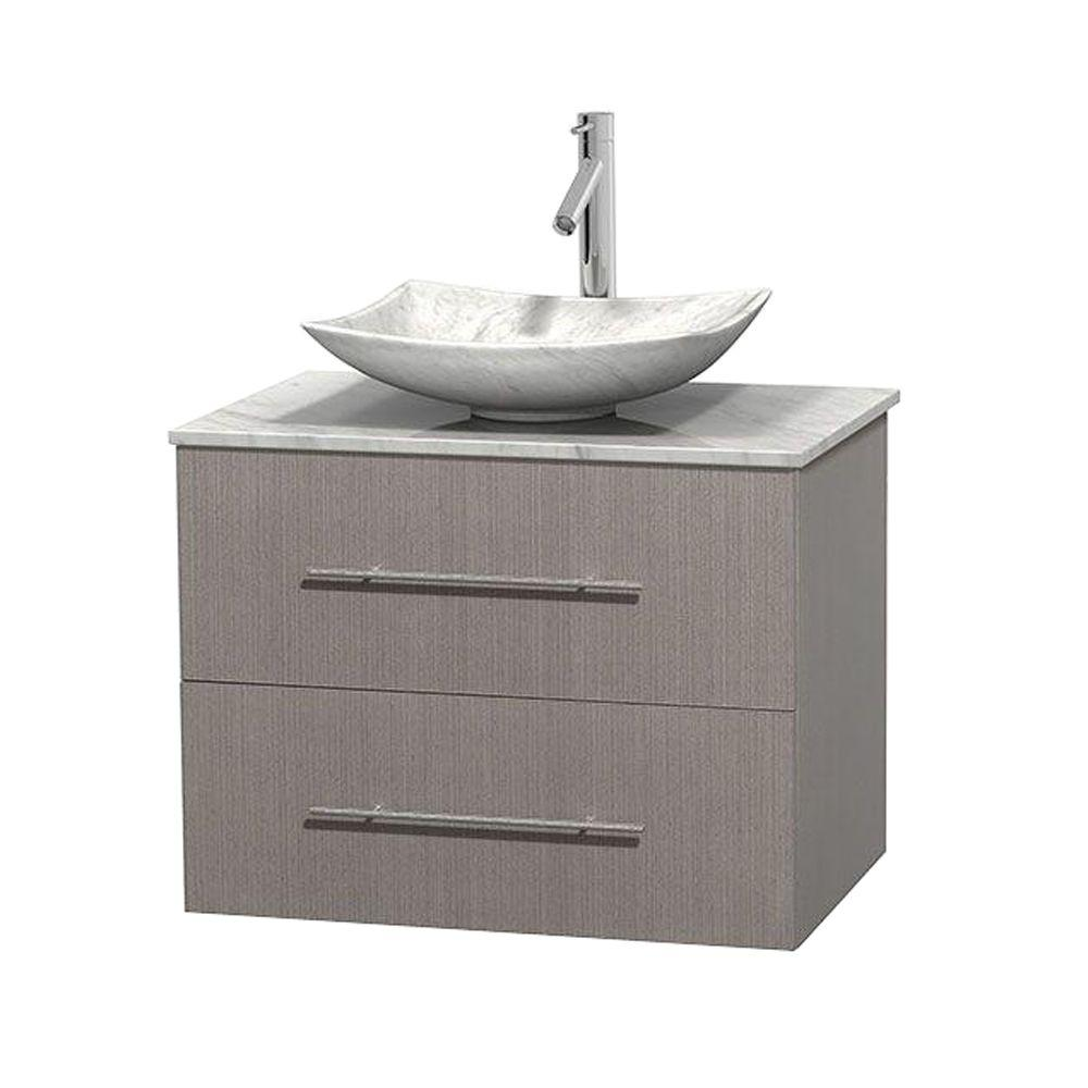 Wyndham Collection Centra 30 in. Vanity in Gray Oak with Marble Vanity Top in Carrara White and Sink