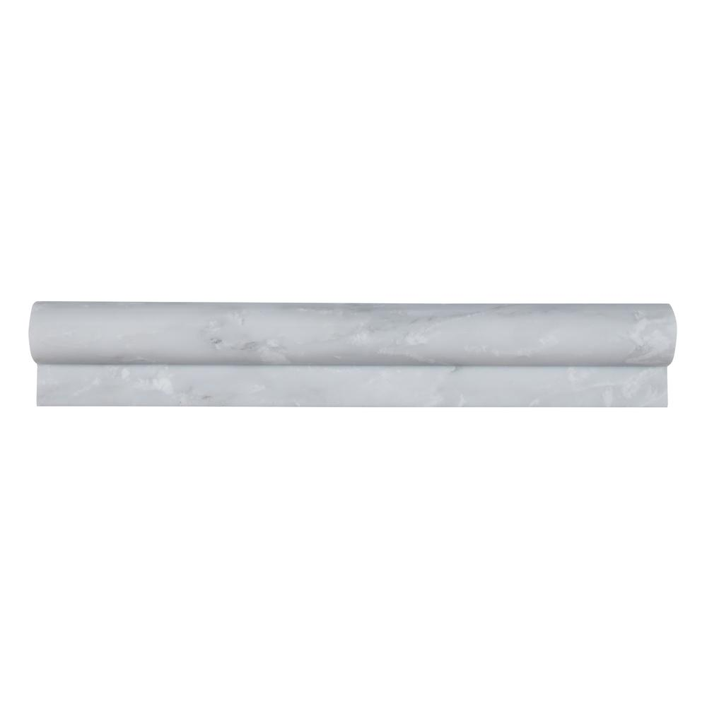 MSI Greecian White Rail Molding 2 in. x 12 in. Polished Marble Wall Tile (1 lin. ft.)