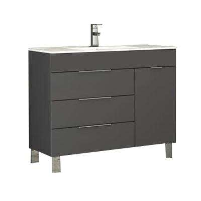 Geminis 39 in. W x 18 in. D x 34 in. H Vanity in Gray with Porcelain Top in White with White Basin