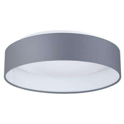 Palomaro 12.5 in. W x 3.5 in. H Anthracite Dimmable Integrated LED Ceiling Light with Gray Linen Shade