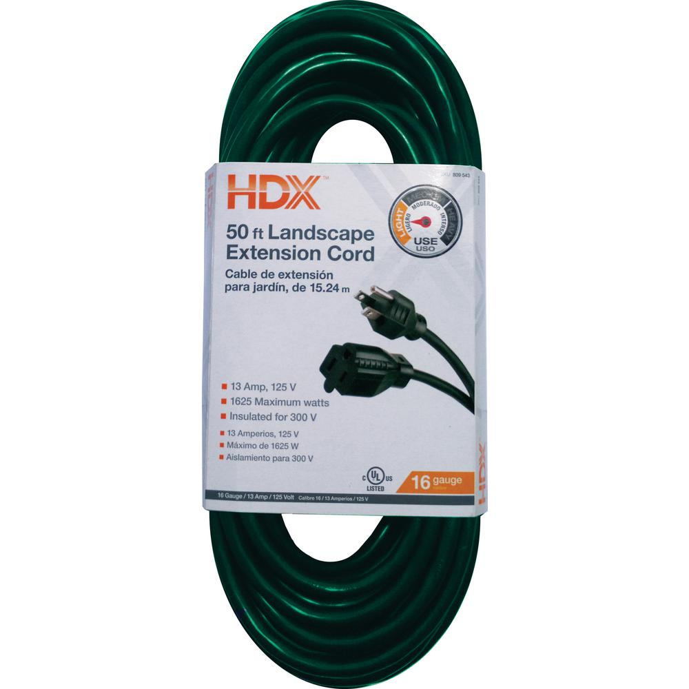 HDX 50 ft. 16/3 Indoor/Outdoor Landscape Extension Cord, Green-HD ...