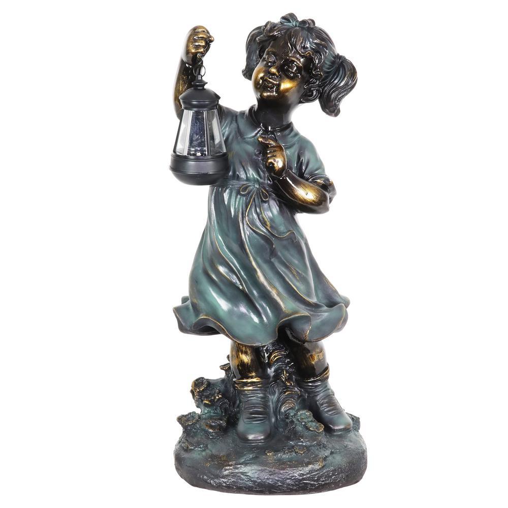 Solar Lantern Girl in Bronze Look Garden Statue