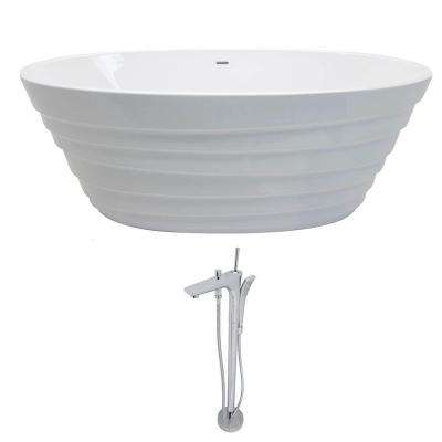 Nimbus 5.6 ft. Acrylic Classic Flatbottom Non-Whirlpool Bathtub in White with Kase Freestanding Faucet in Chrome