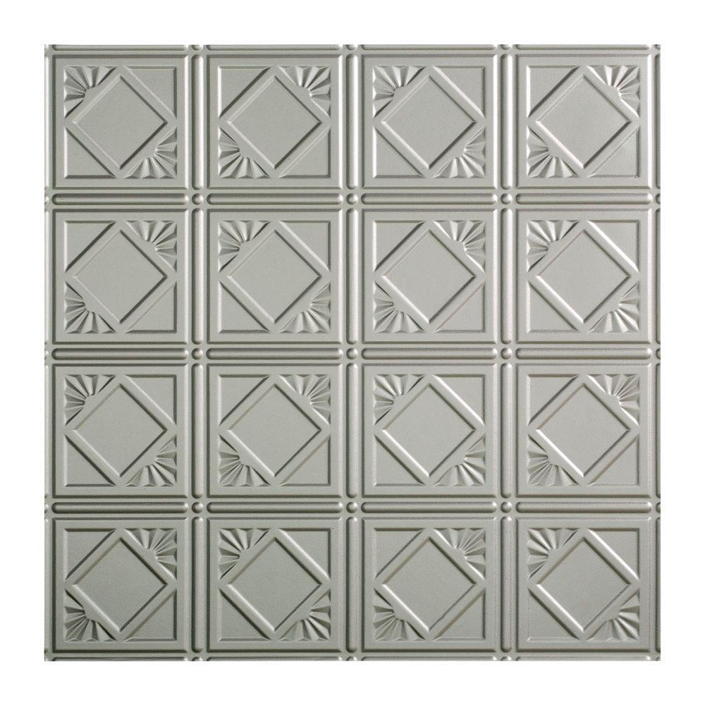 Fasade Traditional 4 - 2 ft. x 2 ft. Lay-in Ceiling Tile in Argent Silver