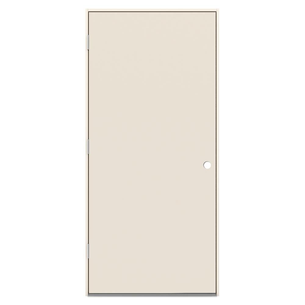 36 in. x 80 in. Flush Primed Right-Hand Outswing Steel Prehung
