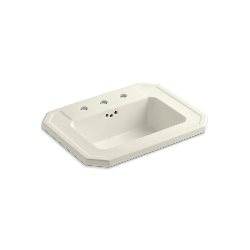 Kathryn Drop-In Vitreous China Bathroom Sink in Biscuit with Overflow Drain