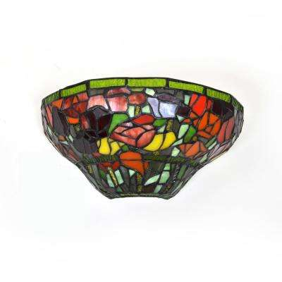 Stained Glass Half Moon Roses LED Sconce