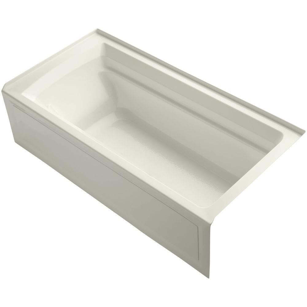 KOHLER Archer VibrAcoustic 6 ft. Right Drain Soaking Tub in Biscuit with Bask Heated Surface