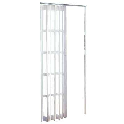 Express One Plus 48 in. x 80 in. Frost White with Transparent Panels PVC Vinyl Accordion Door with Hardware