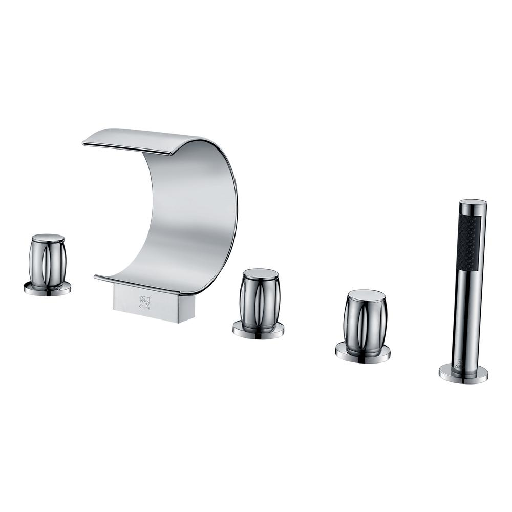 Ribbon 3-Handle Deck-Mount Roman Tub Faucet in Polished Chrome