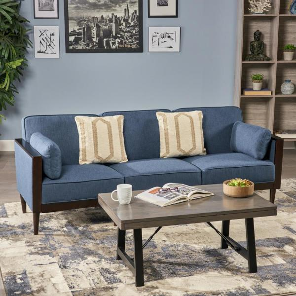 Noble House Pembroke Mid-Century Modern 3-Piece Navy Blue Fabric ...