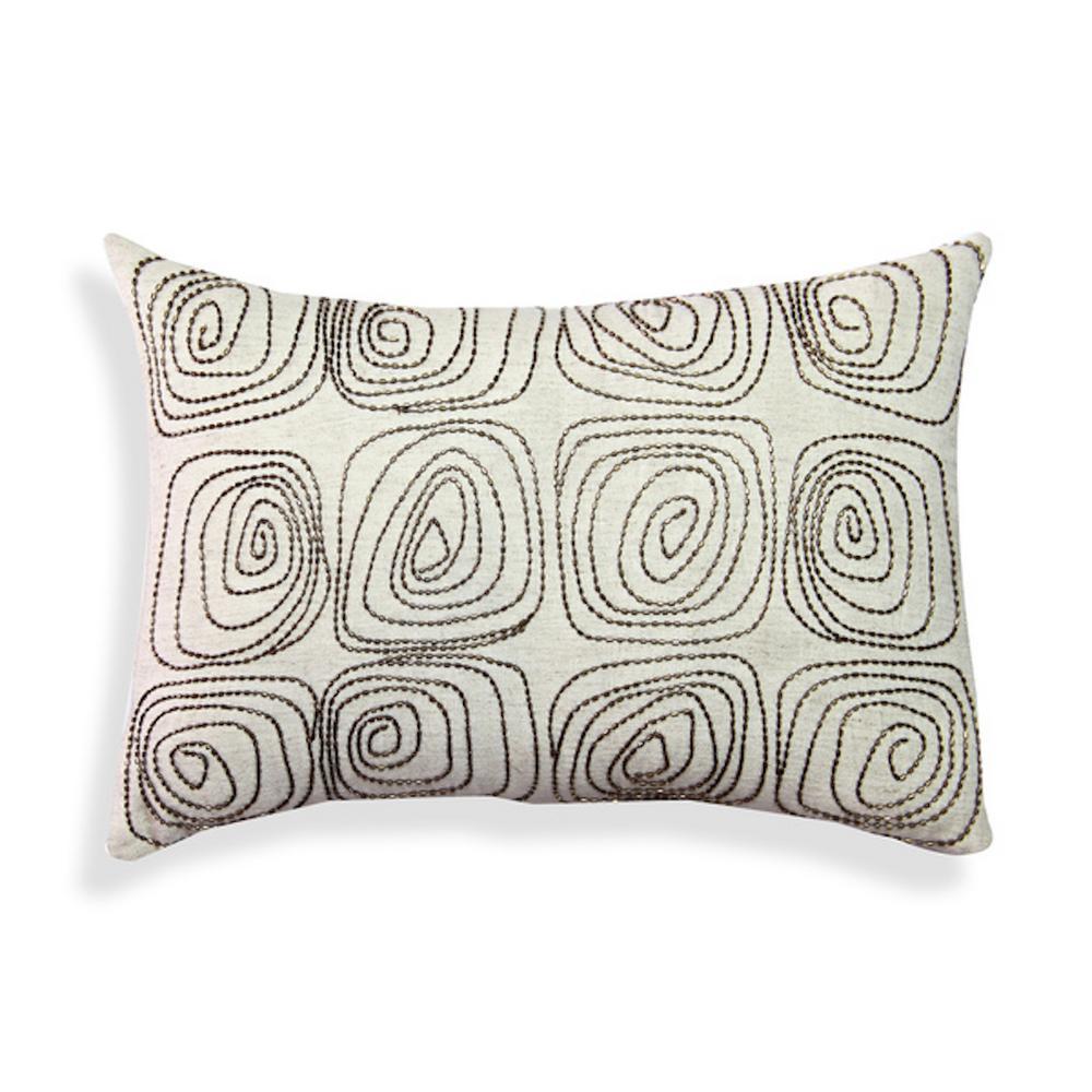 A1HC Beaded Geometric Beige 100% Cotton Decorative Pillow