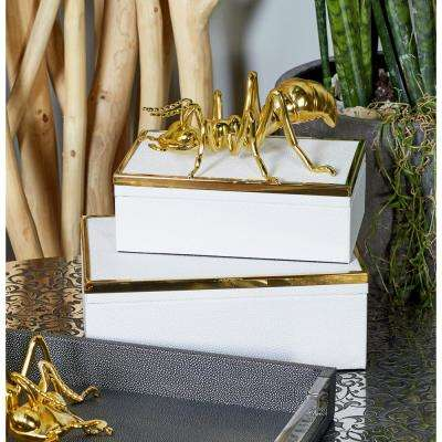 Rectangular Wood and Vinyl Boxes with Lid in White and Gold (Set of 2)