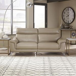 Home Styles Moderno Beige Leather Contemporary Upholstered ...