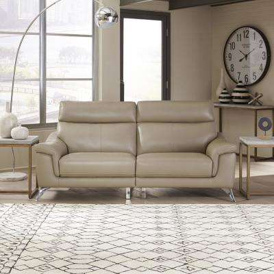 Moderno Beige Leather Contemporary Upholstered Sofa