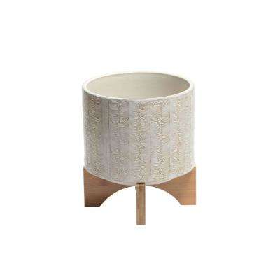 White and Brown Ceramic Round Planter with Wooden Stand