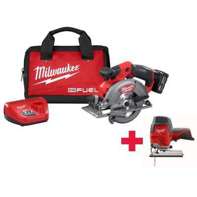M12 FUEL 12-Volt Lithium-Ion 5-3/8 in. Cordless Circular Saw Kit /W Free M12 Jig Saw