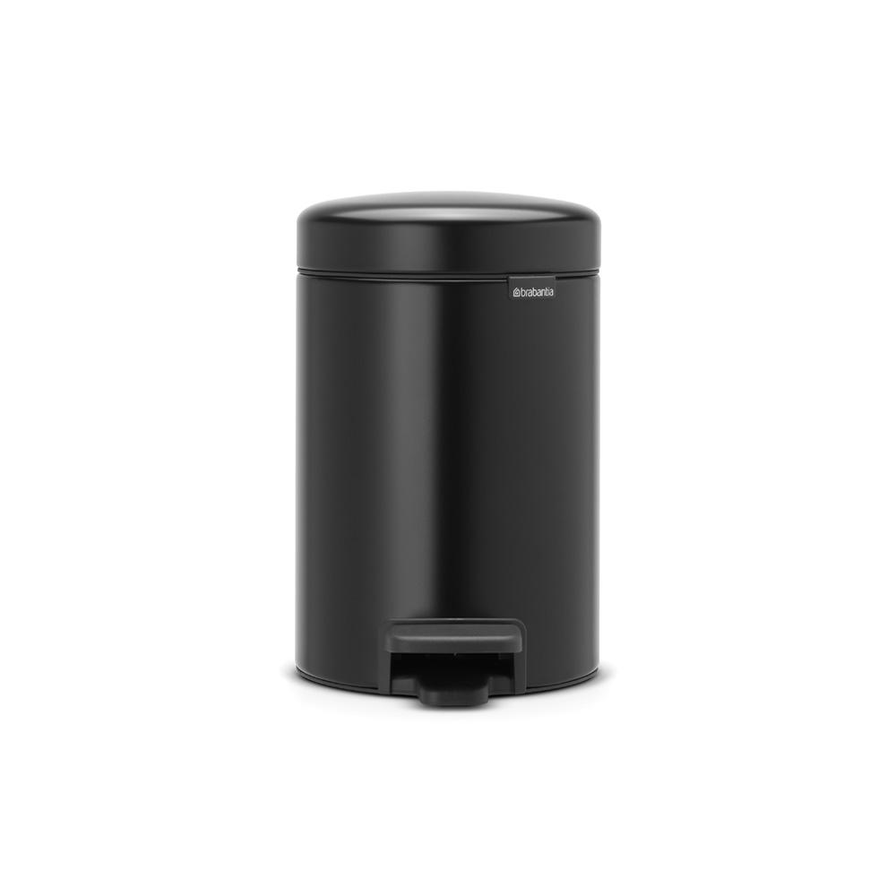 0.8 Gal. Matt Black Steel Step-On Trash Can