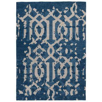 Hampton Collection Navy 5 ft. X 7 ft. Distressed Moroccan Trellis Design Area Rug