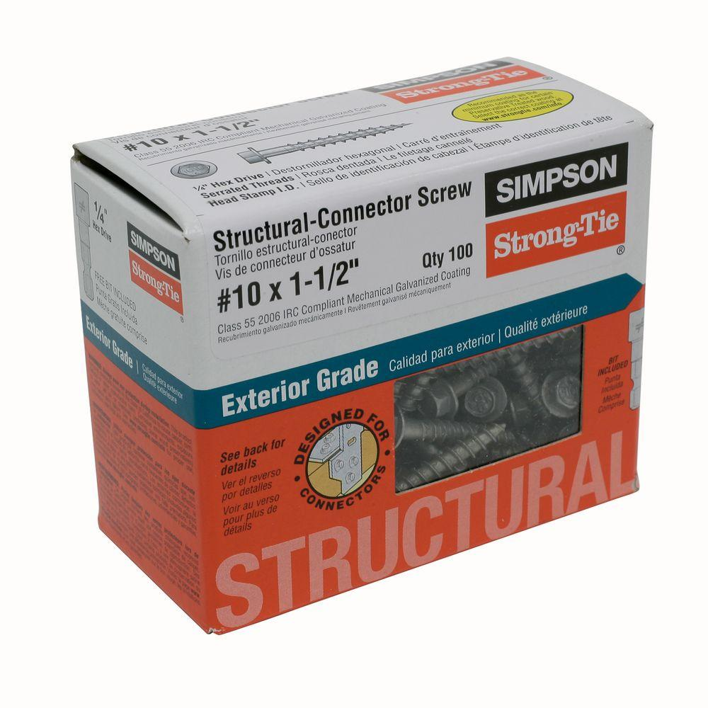 Simpson Strong-Tie #10 1-1/2 in. External Hex Flange Hex-Head Structural-Connector Screw (100-Pack)