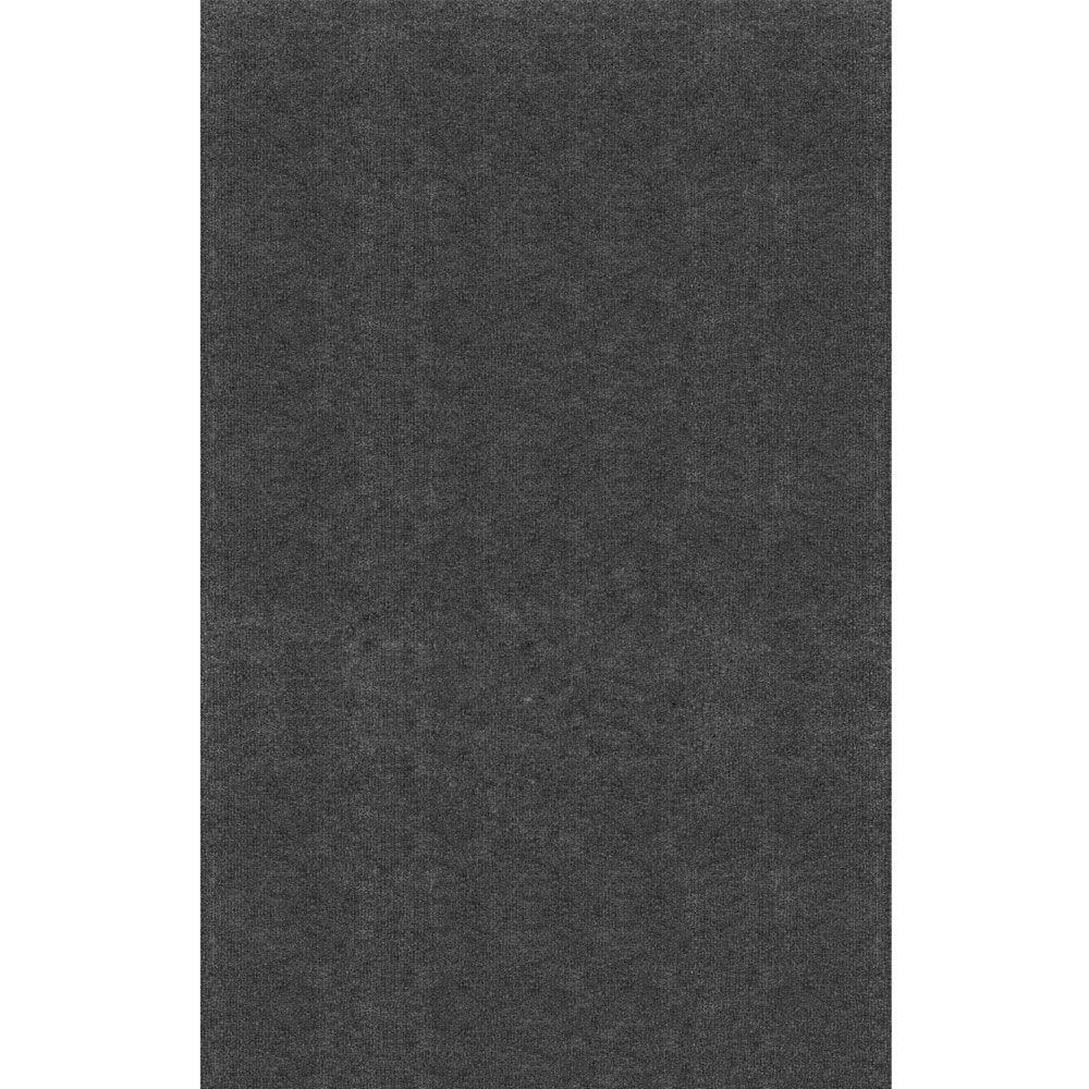 Unbound Smoke Gray Ribbed 6 Ft X 8 Indoor Outdoor Area Rug
