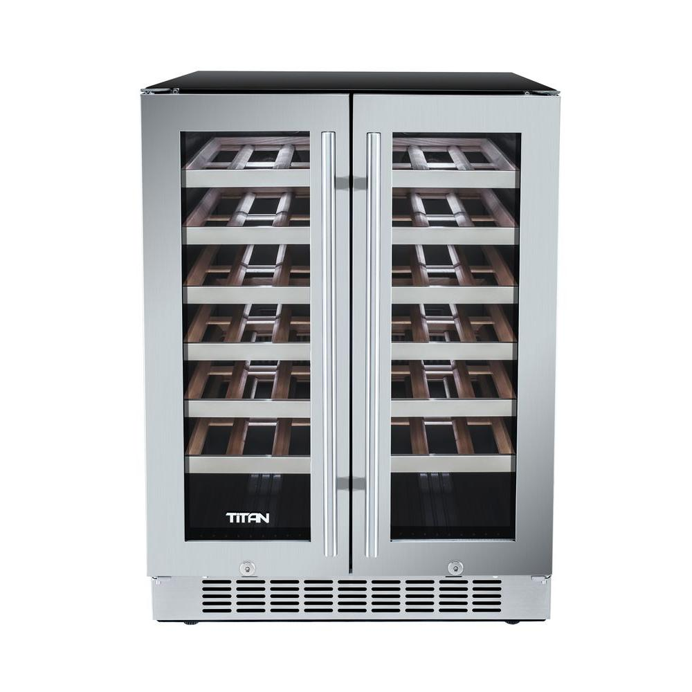 Titan 42 Bottle French Door Seamless Stainless Steel Dual Zone Built In Wine Cooler