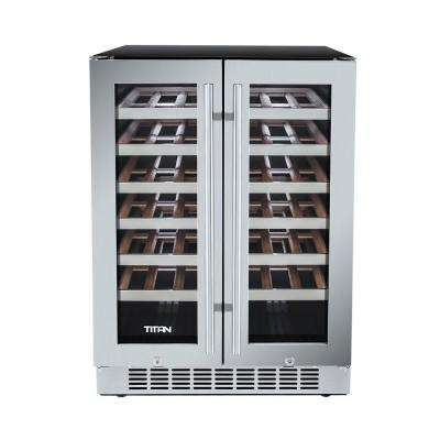 42-Bottle French Door Seamless Stainless Steel Dual Zone Built In Wine Cooler