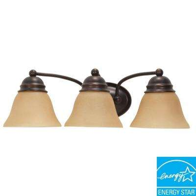 3-Light Mahogany Bronze Vanity Fixture