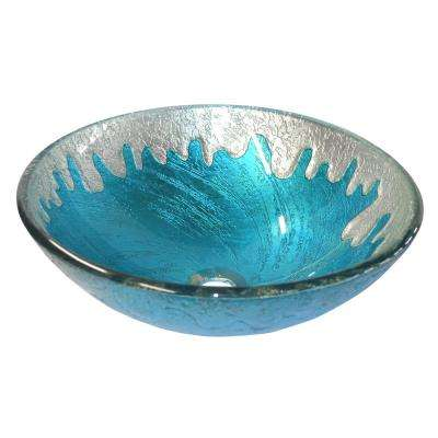 Blue Ice Glass Vessel Sink in Multi Colors with Pop-Up Drain and Mounting Ring in Brushed Nickel