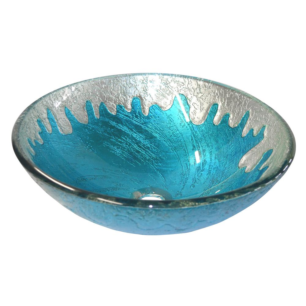 Blue Ice Glass Vessel Sink in Multi Colors with Pop-Up Drain