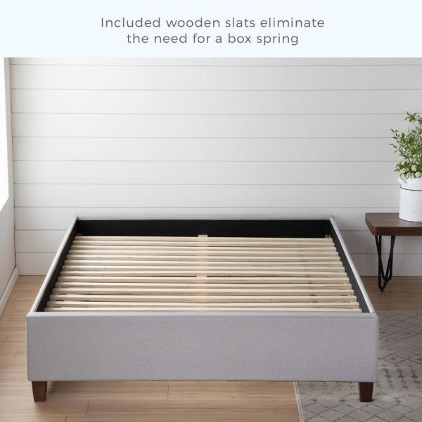 Brookside Ava Upholstered Platform Bed With Slats Stone Queen Bsqqstuppl The Home Depot