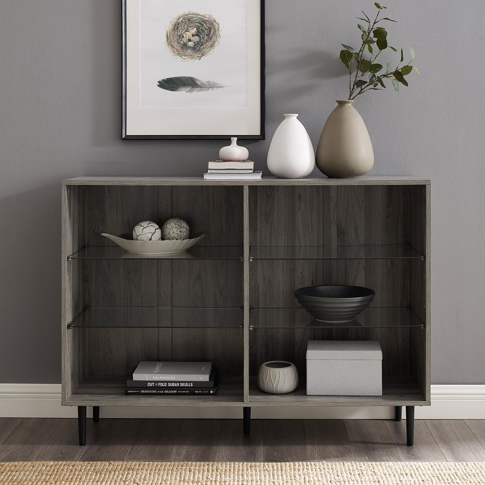 34 in. Slate Gray Wood 6-shelf Standard Bookcase with Adjustable Shelves