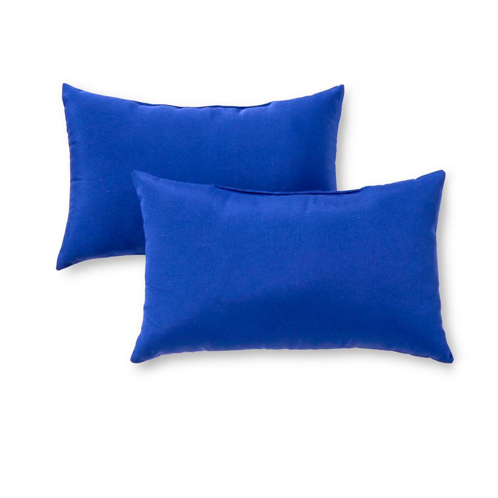 Solid Marine Blue Lumbar Outdoor Throw Pillow (2-Pack)