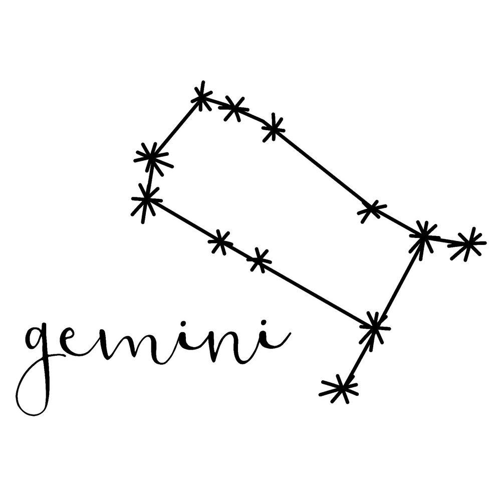 18 in. x 25 in. Black Gemini Decal Wall Art Kit