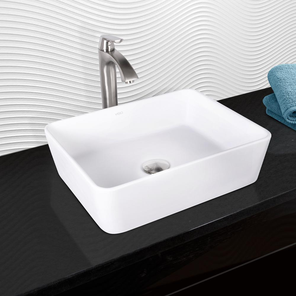 Marigold Matte Stone Vessel Sink And Linus Bathroom Faucet In Brushed Nickel