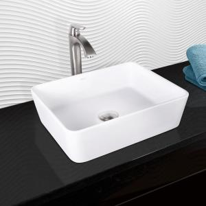 VIGO Marigold Matte Stone Vessel Sink and Linus Bathroom Vessel Faucet in Brushed Nickel by VIGO