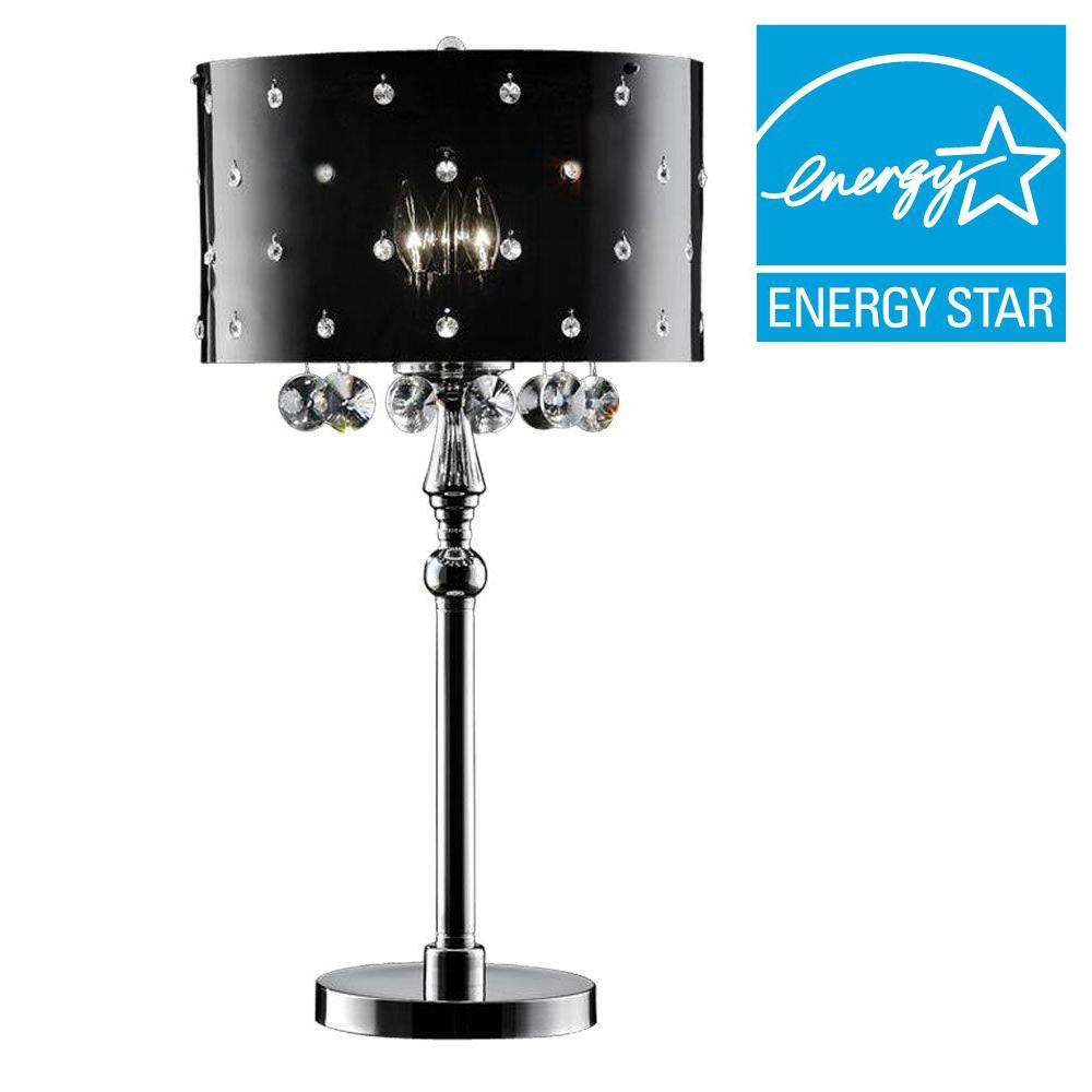 Ore International 32 In Black Star Crystal Table Lamp K 5120t The