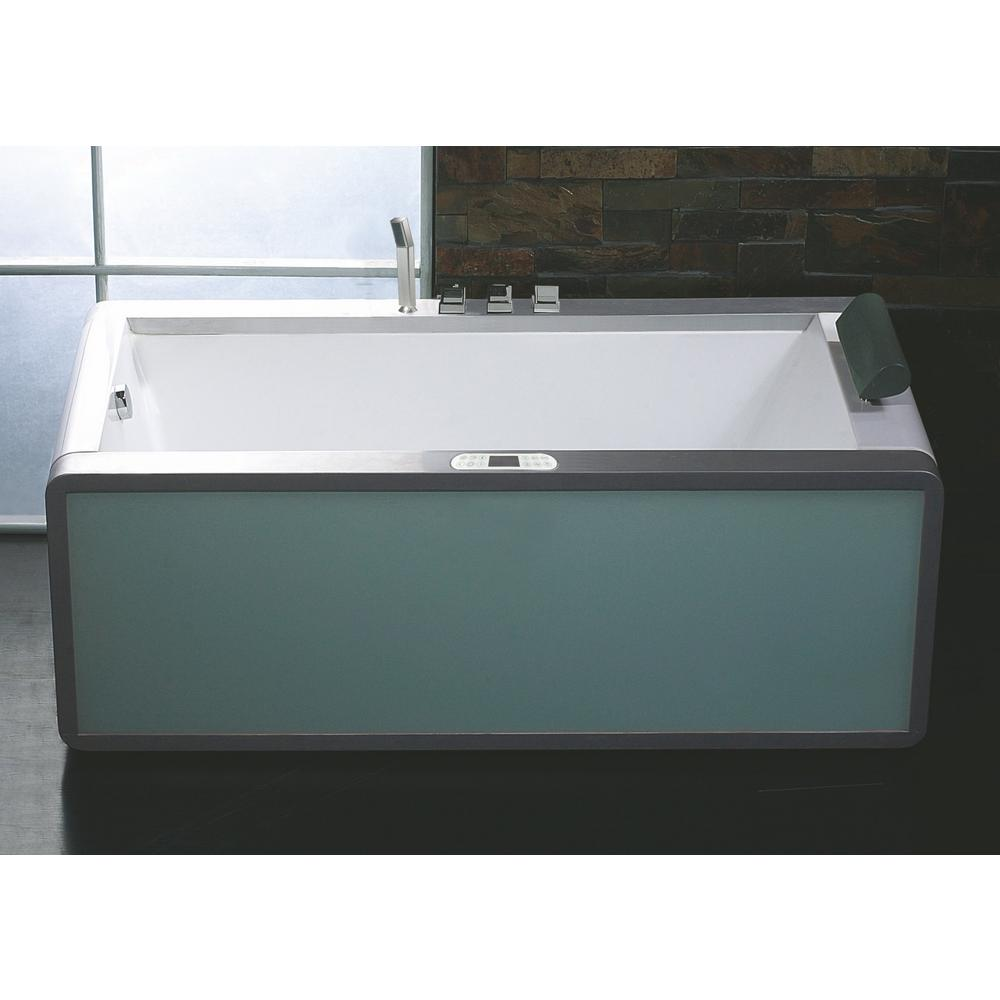 EAGO AM151ETL-L 71 in. Acrylic Flatbottom Whirlpool Bathtub in White